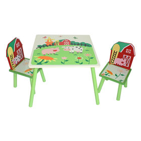 China Wooden Table and Chair Set for Kids, 68*68*45cm Tisch, 26*28*50cm Stuhl, W08G12 Model Number