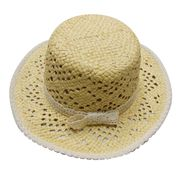 100% Natural Straw Hat, Handmade, Cotton Lace Trims Embellished