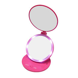 Factory supply LED lighted makeup mirror for travel taking with 5x magnification mirror on one side