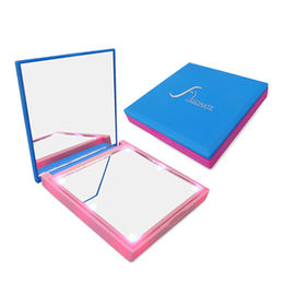 China Pocket size square makeup compact mirror with LED lighting, 2X magnfication on one side