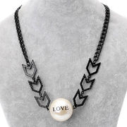 Simple Black Painted Alloy Metal Necklace from China (mainland)