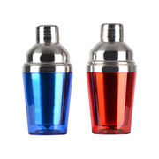 350ML mini plastic outer and SS inner cocktail shakers