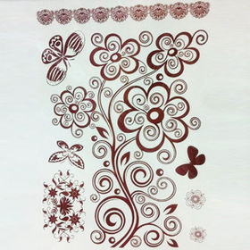 China Hot Sale Temporary Metallic Flash Body Tattoo Stickers in Flower Pattern, Lead- and Nickel-free