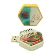 Promotional PVC Hexagon USB Flash Drives with Epoxy Logo, 1-32GB Capacity
