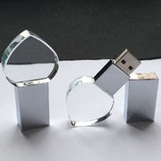 Crystal USB Flash Memory with 2D/3D Bulb LED Logo, Promotional Annual Gift from Shenzhen Sinway Technology Co. Ltd