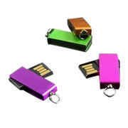 Promotional mini swivel metal USB flash drive, customized label, with key chain from Shenzhen Sinway Technology Co. Ltd