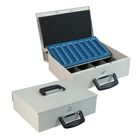 China Transportation cash box, 358*275*103mm, with two deluxe handle, plastic tray for coins and bills
