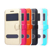 Flip Leather Windows Opened Cover TPU Back Case from China (mainland)