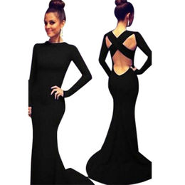 Sleeved Floor-length Dress from China (mainland)
