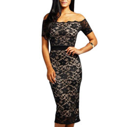 Lace Off-the-shoulder Midi Dress, Made of Polyester + Spandex