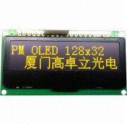 PM-OLED 128x32 Dots Yellow Display from Xiamen Ocular Optics Co. Ltd
