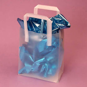 HDPE Tri-fold Bags with Handles, Frosted Translucent Plastic from Everfaith International (Shanghai) Co. Ltd