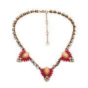 China Stylish Necklaces with Clear Diamante and Acrylic Beads Decoration, Made of Alloy