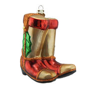 "3.75"" Glass Christmas cowboy boots Ornament. from China (mainland)"