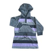 girls' cotton/poly yarn dyed striped velour dresse from China (mainland)