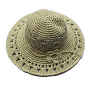 Fashion summer ribbon flower sun hat from China (mainland)