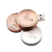 Coin-shaped USB Flash Drive, Customized Packaging Types/Logos Accepted from Shenzhen Sinway Technology Co. Ltd