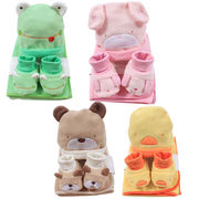 Baby coral fleece blanket, cap and booties set from China (mainland)