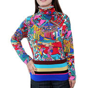 Women's 100% cashmere sweater with printing