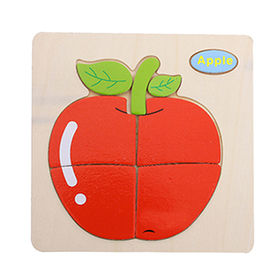 China Apple design wooden puzzle game toy for children, unit measures 15x15x0.6cm