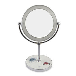 China 360 degree swivel LED lighted Desktop makeup mirror with manification up to 10X