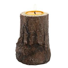 Carved Wood-look Resin Candle Holder Manufacturer