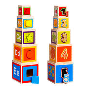Newest Wooden Cube Folding Blocks Cup Stack Toy