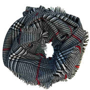 Classic checks acrylic woven grey scarf from China (mainland)