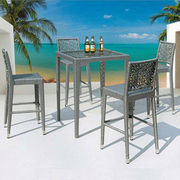 China Outdoor High Table High Chair Rattan Bar Set