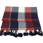 Acrylic + Wool Plaid Pompom Shawls from China (mainland)