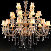 Chandelier, made of glass, crystal w/gold finish (RoHS, REACH), meets CE or UL standard