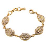 Extravagant Light Gold Lips Bracelet, Decorated with Rhinestones, OEM Designs are accepted