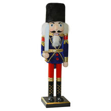 Wooden soldier nutcracker toy for Christmas gift, measures 10.5*8.5*38cm