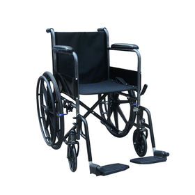 China Steel Wheelchair with 8-inch Front Casters and 24-inch Plastic Rear Wheels