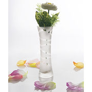 Sandblasted Strip Flower Glass Vases from China (mainland)