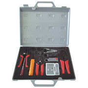 Network tools kits with stripper, punch down tool, cable tester