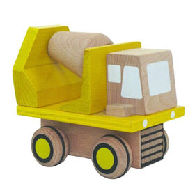 Yellow wooden kid's toy carrier car from China (mainland)