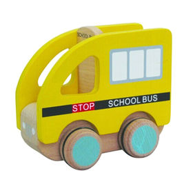 Pull and push wood toy school bus toy from China (mainland)