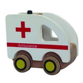 Interesting wooden ambulance toy cars from China (mainland)