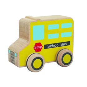 Yellow cute kid's wooden toy school bus from China (mainland)