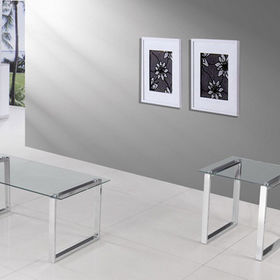 Cocktail Coffee tables, Modern Design with Chrome Finish and Glass Top