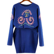 New fashion lady cashmere knit sweater with crystal,two-piece dress