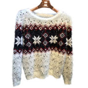 Christmas and holiday knitted sweater with snowflake, made of mahair, welcome to customize