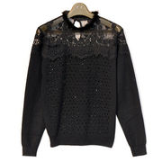 Lace stitching mink collar wool sweater for lady welcome to customize from Meimei Fashion Garment Co. Ltd