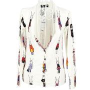 Rabbit pattern knit cotton cardigan for women from Meimei Fashion Garment Co. Ltd