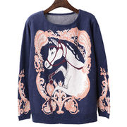 Autumn outfit knitted jumper with horse pattern fashion retro style for lady from Meimei Fashion Garment Co. Ltd
