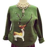 Hong Kong SAR New winter Christmas fawn nail bead sequined embroidery loose knit cashmere sweater
