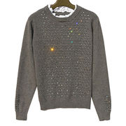 Women's falbala collar wool sweater with a large number of high quality diamond from Meimei Fashion Garment Co. Ltd