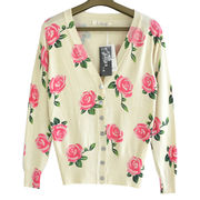 Women, thin, pure cotton, knitted cardigan with rose pattern from Meimei Fashion Garment Co. Ltd