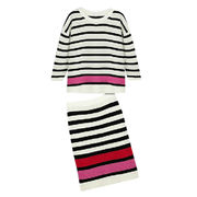 Fashionable two-piece knitted dress for ladies, colors are black and white stripe from Meimei Fashion Garment Co. Ltd